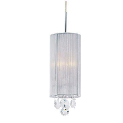Pendente Silk Tubular Fio Seda Prata Cristal 30x15cm Bella Iluminação 1 E27 Bivolt HU2088S Quartos e Entradas