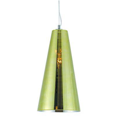 Pendente Conico Vertical Aço Vidro Dourado 33x18cm Bella Iluminação 1 E27 Bivolt HU2093G Cozinhas e Corredores