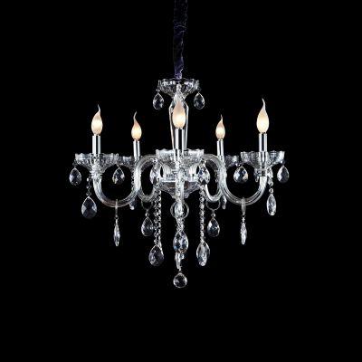 Lustre Candelabro Princess 5 Braços Cristal Transparente 63x61cm Bella Iluminação 5 E14 HU2095 Salas e Entradas