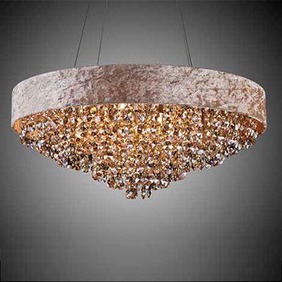 Lustre Trento Metal Tecido Bege Cristal Âmbar 25x60cm Bella Iluminação 7 G9 Halopin Bivolt HU2101A Entradas e Hall