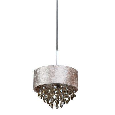 Pendente Trento Metal Tecido Bege Cristal Âmbar 15x20cm Bella Iluminação 1 G9 Halopin Bivolt HU2103A Salas e Hall