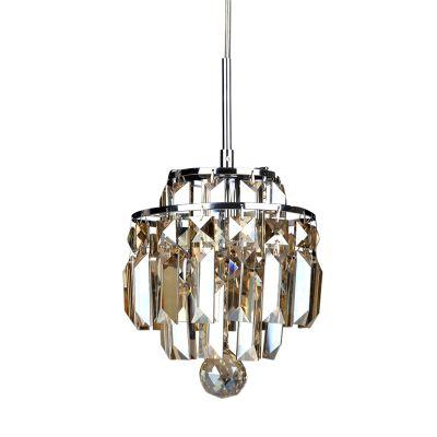 Pendente Kri Metal Cristal Lapidado Âmbar 21x18cm Bella Iluminação 1 G9 Halopin Bivolt HU2105A Salas e Entradas