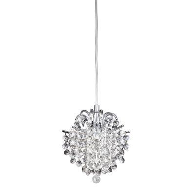 Pendente Fiore Metal Cristal Transparente 24x26cm Bella Iluminação 1 G9 Halopin Bivolt HU2107 Entradas e Hall