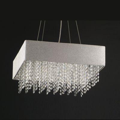 Pendente Valse Quadrado Metal Tecido Cristal 12x46cm Bella Iluminação 5 G9 Halopin Bivolt HU2150-46 Salas e Hall