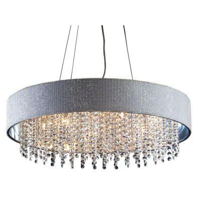 Pendente Valse Redondo Metal Tecido Cristal 12x50cm Bella Iluminação 6 G9 Halopin Bivolt HU2150-50 Salas e Hall