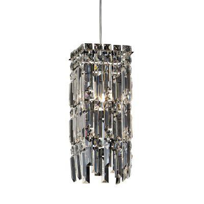 Pendente Charm Metal Cromado Cristal 37x15cm Bella Iluminação 1 G9 Halopin Bivolt HU2155 Entradas e Corredores
