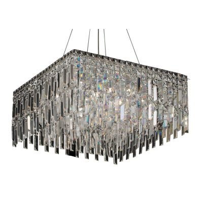 Pendente Charm Quadrado Cristal Transparente 26x58cm Bella Iluminação 13 G9 Halopin Bivolt HU2157 Salas e Hall
