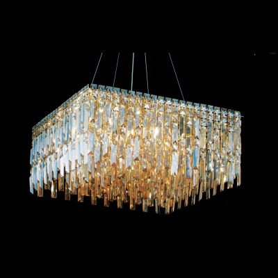 Pendente Charm Quadrado Cristal Âmbar 26x58cm Bella Iluminação 13 G9 Halopin Bivolt HU2157A Salas e Entradas
