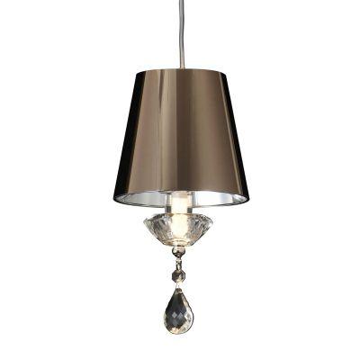 Pendente Cass Acetato Cristal Bronze Transparente 14x10cm Bella Iluminação 1 G9 Halopin HU2159B Quartos e Salas