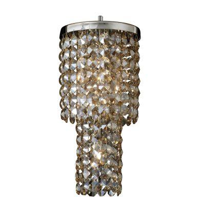 Pendente Fall Metal Cromado Cristal Âmbar 58x25cm Bella Iluminação 3 G9 Halopin HU2160A Corredores e Entradas