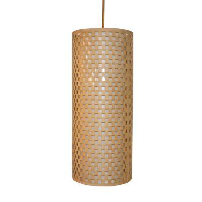 Pendente Camurça Tecido Tubular Bege Branco 60x25cm Bella Iluminação 2 E27 Bivolt HU2172A Quartos e Balcões