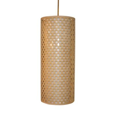 Pendente Camurça Tecido Tubular Bege Branco 60x25cm Bella Iluminação 2 E27 Bivolt HU2172AL Quartos e Balcões