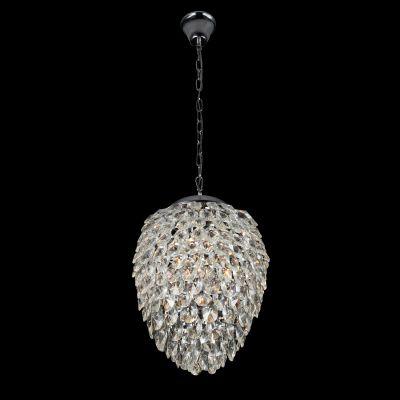 Pendente Nut Metal Aço Cristal Transparente 51x40cm Bella Iluminação 5 G9 Halopin Bivolt HU2174 Salas e Hall