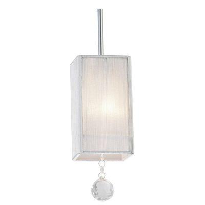 Pendente Silk Quadrado Fio Seda Branco Cristal 18x10cm Bella Iluminação 1 E27 Bivolt HU2187W Cozinhas e Salas