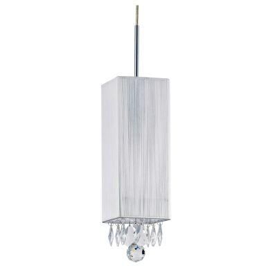 Pendente Silk Quadrado Fio Seda Prata Cristal 30x12cm Bella Iluminação 1 E27 Bivolt HU2188S Quartos e Salas