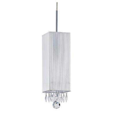 Pendente Silk Quadrado Fio Seda Branco Cristal 30x12cm Bella Iluminação 1 E27 Bivolt HU2188W Quartos e Salas