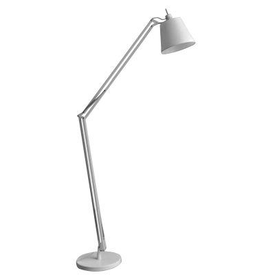 Luminária Chão Scope Articulada Metal Branco 130x100cm Bella Iluminação 1 E27 Bivolt HU4003W Corredores e Salas