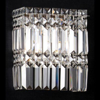 Arandela Charm Cristal Lapidado Transparente 24x20cm Bella Iluminação 2 G9 Halopin Bivolt HU5017 Corredores e Salas