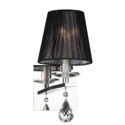 Arandela Cass Cupula Fio Seda Preto Metal Cristal 14x10cm Bella Iluminação 1 G9 Halopin HU5022B Salas e Entradas