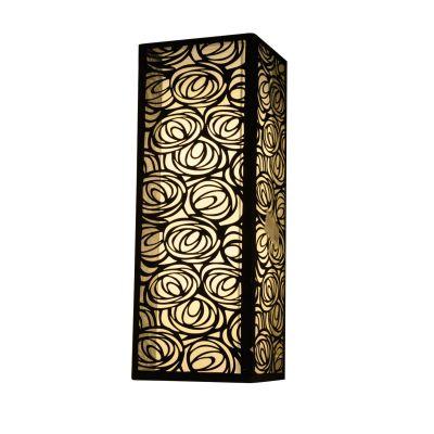 Arandela Tecido Metal Vertical Preto Quadrado 60x22cm Bella Iluminação 2 E27 Bivolt HU5025BL Entradas e Quartos