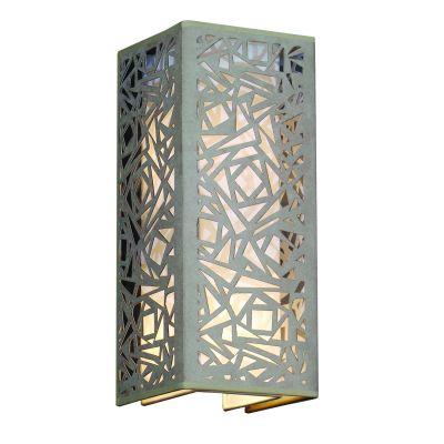 Arandela Camurça Metal Bege Vertical Quadrado 42x17cm Bella Iluminação 2 E27 Bivolt HU5026AM Entradas e Quartos