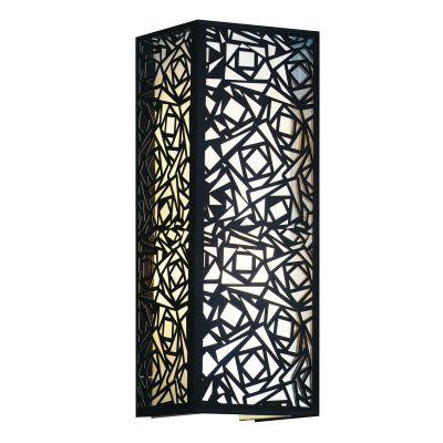 Arandela Vertical Tecido Metal Preto Quadrado 60x22cm Bella Iluminação 2 E27 Bivolt HU5026BL Quartos e Entradas
