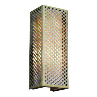 Arandela Tubular Quadrado Tecido Metal Bege 60x22cm Bella Iluminação 2 E27 Bivolt HU5027AL Corredores e Entradas
