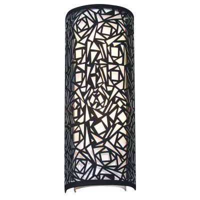 Arandela Vertical 1/2 Cilindro Metal Tecido Preto 60x23cm Bella Iluminação 2 E27 Bivolt HU5028BL Entradas e Salas