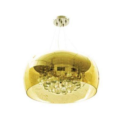 Pendente Soho Metal Cromado Vidro Cristal Âmbar 20x50cm Bella Iluminação 6 G9 Halopin HU6550PC Entradas e Salas
