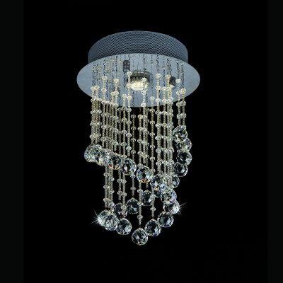Plafon Cascade Cromado Cristal Transparente 40x25cm Bella Iluminação 1 GU10 Dicróica JL003C Entradas e Corredores