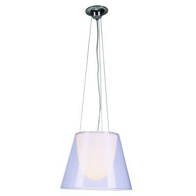 Pendente Cônico Acrílico Branco Transparente Ø39cm Bella Iluminação 1 E27 Bivolt JU150P Mesas e Cozinhas