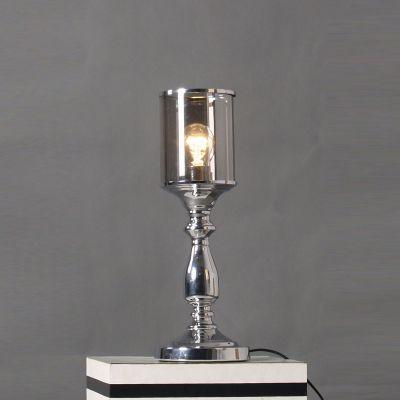 Abajur Cupula Tubular Vidro Metal Cromado 42x15cm Bella Iluminação 1 E27 Bivolt JY001C Quartos e Salas