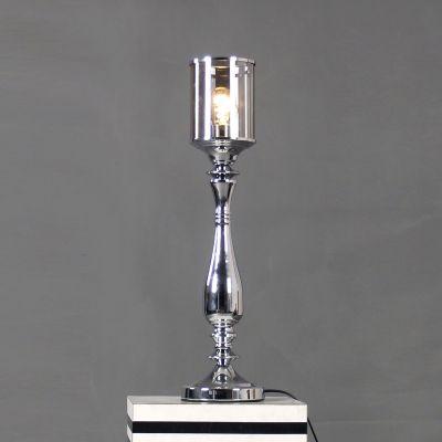 Abajur Cupula Tubular Vidro Metal Cromado 61x15cm Bella Iluminação 1 E27 Bivolt JY002C Quartos e Salas