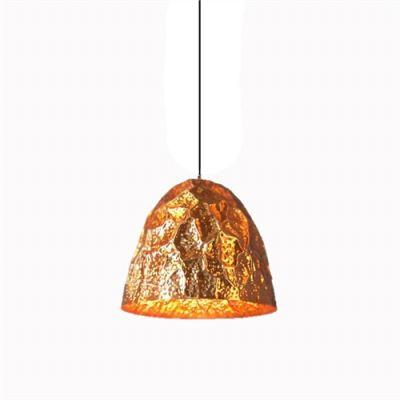 Pendente Brass Oval 1/2 Vertical Metal Cobre 55x60cm Bella Iluminação 1 E27 Bivolt JY008B Balcões e Entradas
