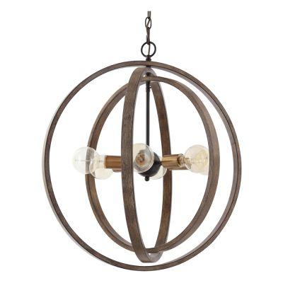 Pendente Arus 3 Circulos Metal Marrom Bronze 68,8x62,5cm Bella Iluminação 6 E27 40W Bivolt KF001 Entradas e Hall