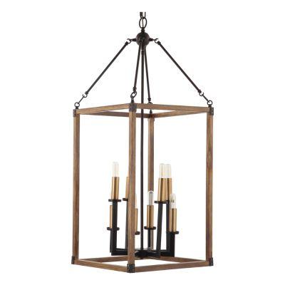 Pendente Torch Retangular Vertical Metal Bronze 102x40cm Bella Iluminação 8 E14 40W Bivolt KF002 Entradas e Hall