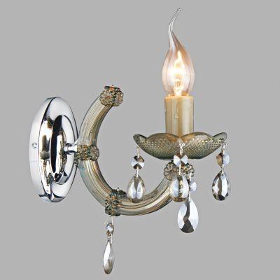 Arandela Marchesa Vela Metal Vidro Acrílico Âmbar 21x24cm Bella Iluminação Bivolt 1 E14 KH1061C Corredores e Hall