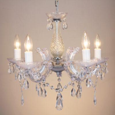 Lustre Candelabro Duchessa 5 Braços Vidro Transparente 42x50cm Bella Iluminação 5 E14 Bivolt KH1065 Entradas e Hall