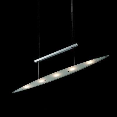 Pendente Prancha Metal Cromado Vidro Transparente 8x95cm Bella Iluminação 5 LED 3W KL004 Mesas e Balcões