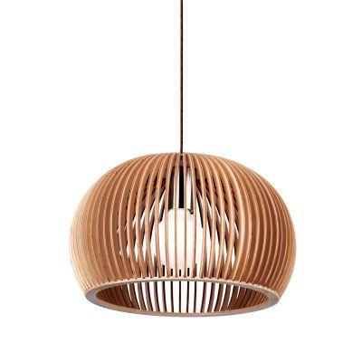 Pendente Wood Madeira 1/2 Esfera Aço Cromado Bege 15x22cm Bella Iluminação 1 E27 Bivolt LB001 Balcões e Cozinhas