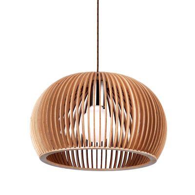 Pendente Wood Madeira 1/2 Esfera Aço Cromado Bege 20x30cm Bella Iluminação 1 E27 Bivolt LB002 Balcões e Cozinhas