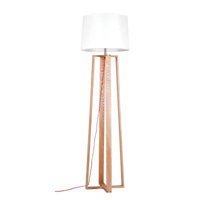 Coluna Madeira Bege Vertical Cupula Redonda Branca 170x46cm Bella Iluminação 1 E27 Bivolt LB006 Salas e Corredores