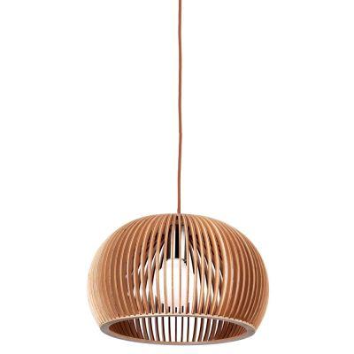 Pendente Wood Madeira 1/2 Esfera Aço Cromado Bege 37x60cm Bella Iluminação 1 E27 Bivolt LB008 Balcões e Cozinhas
