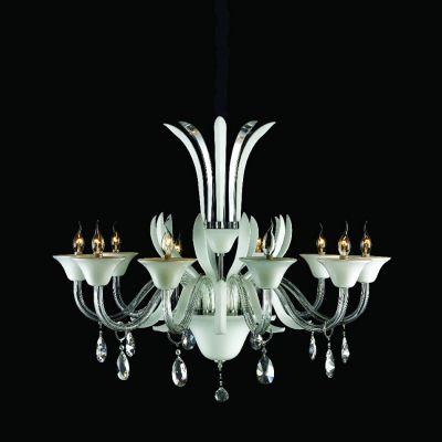 Lustre Candelabro Gallery Cristal Vidro Branco 65x100cm Bella Iluminação 10 E14 Bivolt LS202-10W Entradas e Hall