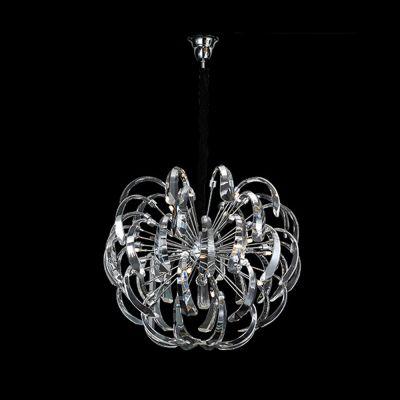 Lustre Aço Cromado Cristal Vidro Transparente Ø61cm Bella Iluminação 12 G4 Bi-pino 127V LS6025A Entradas e Salas