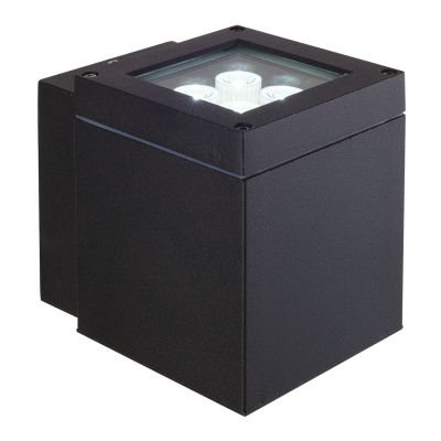 Arandela Externa Block Alumínio Preto 14,5x11cm Bella Iluminação 1 LED 4W Bivolt LX1051B Muros e Jardins