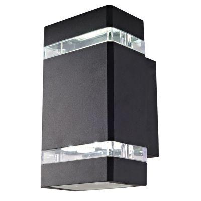 Arandela Decorativa LED Alumínio Retangular Preto 10,5x11cm Bella Iluminação 1 LED 8W LX1064B Corredores e Entradas