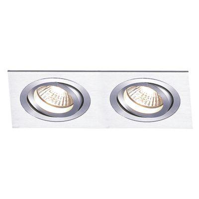 Spot Embutido Ecco Ret Duplo Alumínio Escovado 5x14,8cm Bella Iluminação 2 Minidicróica Bivolt NS5102A Salas e Hall