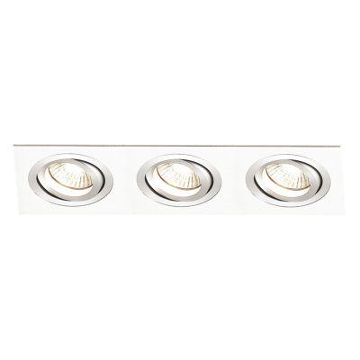 Spot Embutido Ecco Ret Triplo Alumínio Branco 5x22cm Bella Iluminação 3 Minidicróica Bivolt NS5103B Quartos e Salas