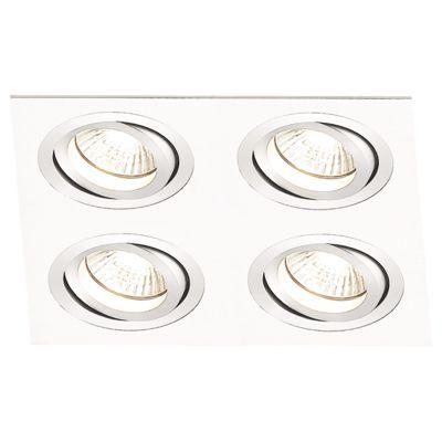 Spot Embutido Ecco Quad Alumínio Escovado 5x14,8cm Bella Iluminação 4 Minidicróica Bivolt NS5104B Salas e Entradas